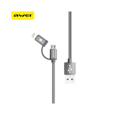 Cavo AWEI CL930 2 w 1 MicroUSB+Ipho grigio