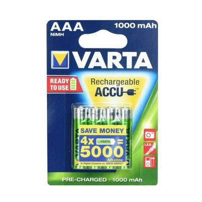 VARTA  Accumulator R3 1000 mAH (AAA) 4 pz ready to use
